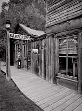 Barber Shop, Nevada City, MT. Limited edition black and white photograph