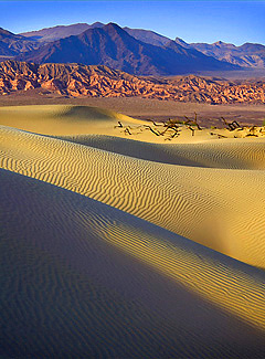 Dunes and Buttes, Death Valley. Color photograph