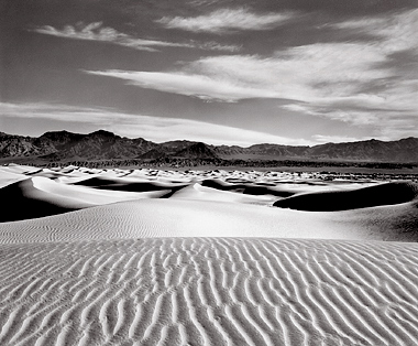 Dunes and Clouds, Death Valley. Black and white photograph