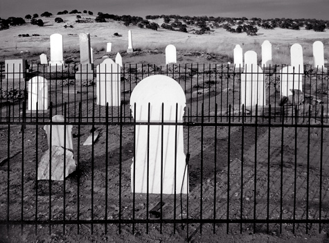 Graveyard,  Hornitos, California. Limited edition black and white photograph