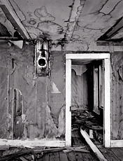 Interior, Gilmore. Gilmore, Idaho. Black and white ghost town photograph