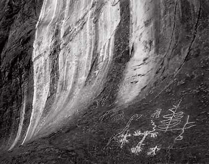 Marble Canyon Petroglyphs,  Death Valley. Black and white photograph