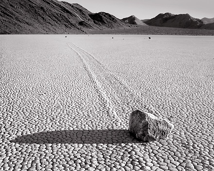 Moving Rock, Racetrack. Death Valley. Black and white photograph