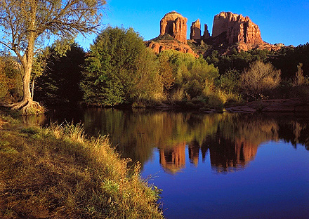 Oak Creek Canyon, Sunset. Near Sedona, Arizona. Color Photograph