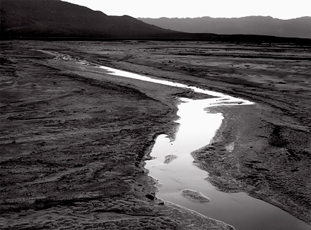 Pool At Sunset Death Valley  Lynn Radeka large format black and white