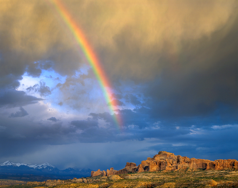 Rainbow Over Bluffs, 1995. Arches National Park, Utah