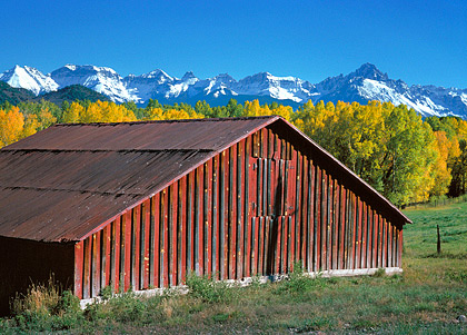 Red Barn, 1980. Near Telluride, Colorado. Color Photograph