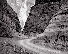 Road, Titus Canyon. Death Valley, CA. Black and white photograph