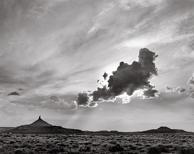 Six-Shooter Peak and Cloud, Utah. Black and white photograph.