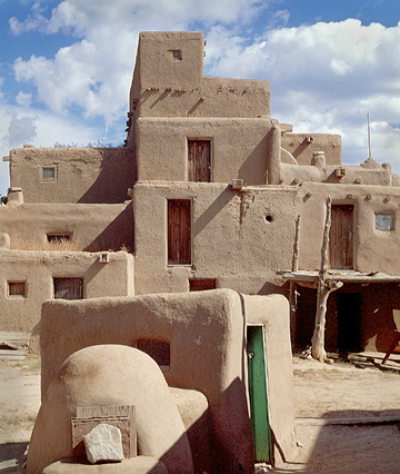 Taos Pueblo, Vertical. Taos, New Mexico. Color Photograph
