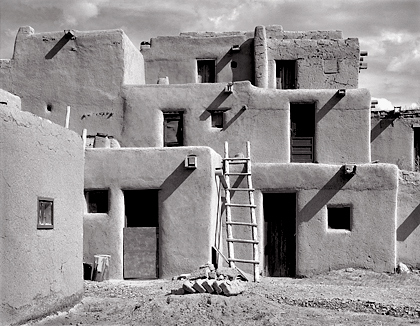 Taos Pueblo, New Mexico. Black and white photograph