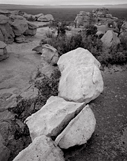Boulders, El Malpais National Monument, New Mexico. Black and white photograph