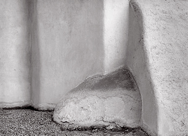 Buttress Forms, Taos, New Mexico. Black and white photograph