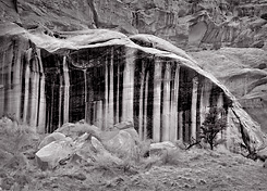 Striped Cliff, Utah. Black and white photograph.