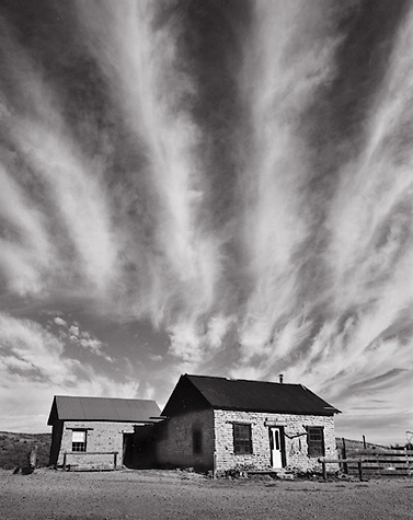 Clouds, Shakepeare. Shakespeare, New Mexico. Black and white photograph