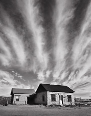 Clouds, Shakespeare. Shakespeare, New Mexico. Black and white photograph