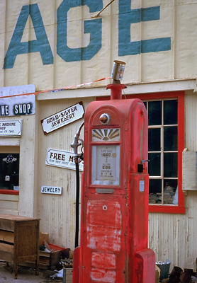 Gas Pump, Goldfield, 1990. Goldfield, Nevada. Color Photograph