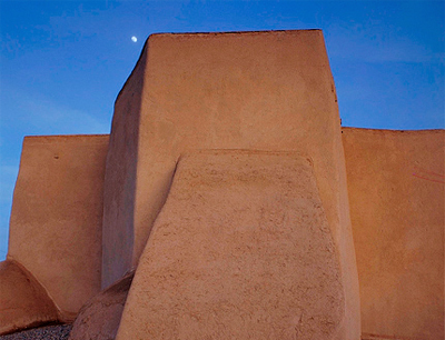 Moon Over St Francis de Asis Taos New Mexico workshop