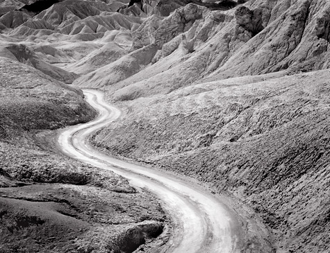 Road, 20 Mule Team Canyon. Death Valley. Black and white photograph