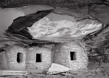 Ruin, Cedar Mesa 1, Utah. Black and white photograph