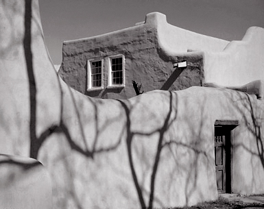 Shadows and Wall, Santa Fe, New Mexico. Black and white photograph