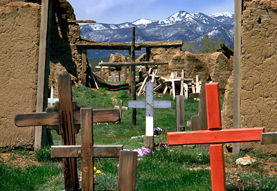 Graveyard, Taos. Taos Pueblo, New Mexico. Color Photograph