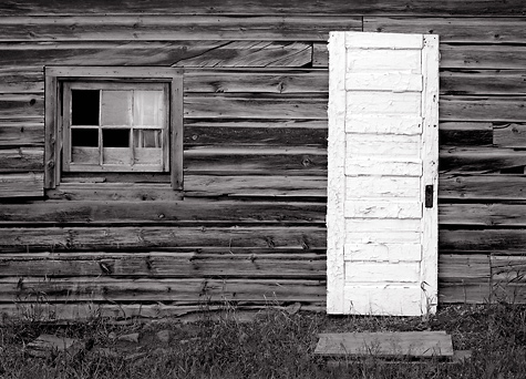 White Door and Wall, Fort Steele, BC. Limited edition black and white photograph