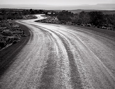 Winding Road, Sunset. Canyon DeChelley, AZ. Black and white photograph