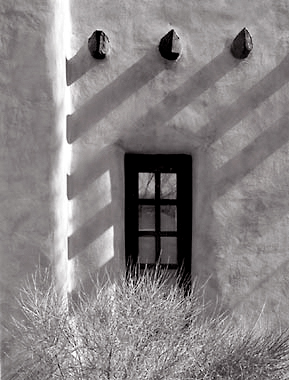 Window and Shadows, Santa Fe, New Mexico. Black and white photograph